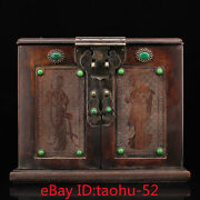 """11.8""""old Chinese Antiques Red Acid Branch Wood Handmade Inlaid Gem Box"""