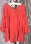 New Plus Size 2x Orange Peasant Blouse Taupe Tiered Cocomo Top Shirt