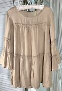 New Plus Size 1x Beige Peasant Blouse Taupe Tiered Cocomo Top Shirt