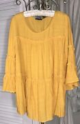 New Plus Size 1x Yellow Gold Blouse Tiered Cocomo Top Peasant Shirt