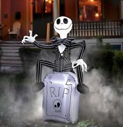 Nightmare Before Christmas Jack Skellington Tombstone Airblown Inflatable 3.5and039