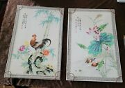 Pair Antique Chinese Famille Rose Tile Plaque Paintings