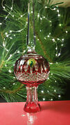 Waterford Crystal Clarendon Ruby Christmas Tree Topper Mib Signed By Jim O'leary