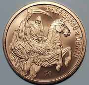 Rare Only 22k Minted Pale Horse Of Death 1 Oz Copper Coin/round Halloween