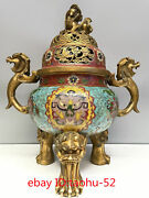 18.1andldquocollecting Chinese Antiques Pure Copper Cloisonne Enamel Incense Burner