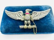 Circa Early 1900and039s Large Sterling Silver 14k Gold Ruby Eagle Pin Brooch Wwi