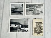 4 Antique Vintage Black And White Photo Pictures Of 1920's-60's Cars