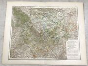 1899 Antique Map Of Germany Thuringia State Original 19th Century German
