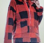 Womenand039s Faux Fur Shaggy Fleece Jacket/coat Size Med Red Plaid