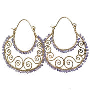 Your Choice Of Rondelle Gemstone Wrapped On Hammered Swirl Shaped Hoop Earrings