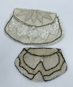 Vintage 1920s French Belgium Antique Beaded Purse Evening Bags White Satin Glass