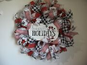 Christmas Holiday Deco Mesh Buffalo Plaid Door Wreath 24in Red White Silver