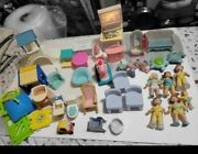 Fisher Price Loving Family Dollhouse Lot Furniture And People Lot Vintage