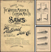 Wheeler Madden And Clemson Middletown Ny 1892 Saw And Tool Catalog - 52 Pgs.