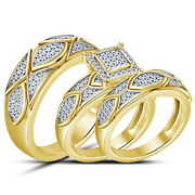 2.45 Ct Round Diamond His Her Trio Wedding Bridal Ring Sets 14k Yellow Gold Over