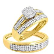 14k Yellow Gold Over Diamond Bridal His Her Engagement Trio Wedding Ring Sets