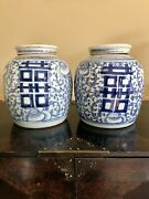 Pair Of Antique Chinese Ginger Jars Marriage Double Happiness, Lidded 19th C