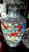 Price Reduced..large Cloisonneand039 Vase W/ Detailed Standchinese...vintage...36h