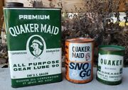 Vtg Quaker Maid Oil Can Lot Sno And Go Gear Lube Grease Oil Gas Sign Garage