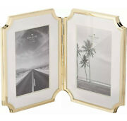 New Kate Spade Sullivan Street Gold-plated Hinged Double 4 X 6 Picture Frame