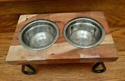 Wood And Iron Double Pet Dog/cat Feeder With Stand