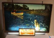 Rare Vintage 1950's Budweiser Draught Beer Lighted Bar Sign Canoe Fishing Bass