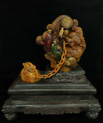 Chinese Natural Shoushan Stone Handcarved Exquisite Arhat Seal Statue 22717