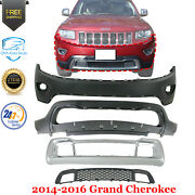 Front Bumper Cover + Lower Valance Grille With Frame For 2014-16 Grand Cherokee