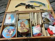 Fly Fishing Tying Kit Vice , Feathers, Hooks Thread, Wooden Case Etc