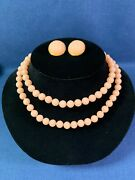 Vintage Trifari Coral Colored Lucite Bead Necklace And Earrings All Signed