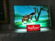 Excellent Vintage 1960's Budweiser Beer Lighted Horse And Foal Clydesdales Sign