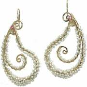 Cosmopolitan Ivory Pearls And A Single Accent Color Wrapped On Hammered Paisley