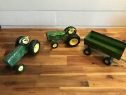 2 Vintage John Deere Toy Tractors And Wagon 1/16th Scale. Ships Fast