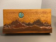Vintage Frye Weaver 3d Wood Jigsaw Puzzle Turquoise Moon Over Mountains Rare Htf