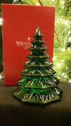 Waterford Crystal Christmas Tree Sculpture Green Euc Boxed 6.5 Solid Excellent