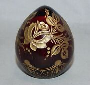 Modern Faberge Russia Red Etched Glass Egg Floral With Gold
