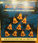 Vintage Mr. Christmas 10 Lighted Musical Brass Bells Plays 15 Songs