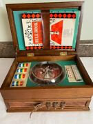 Vintage Wooden Game Box Chess Cribbage Roulette Dice And More With Rule Book