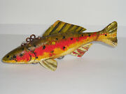 Rare Dean Crouser Fish Decoy Wood Carving Glass Eyes Signed