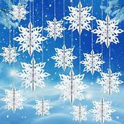 30 Pieces 3d Snowflake Ornaments Paper Hanging Snowflake In 3 Sizes With White