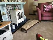 Long Sloping Fender Foot Stool Tapestry Cabriole Legs Reupholstered Mid 19th.c