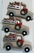 6 Silver Vintage Truck Farmhouse Checkered Gifts Wreath Christmas Ornaments