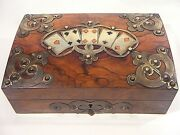 Antique Walnut Playing Card Box Brass Fitments