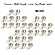 30packs Slide Drop In Under Cup Drink Holder Stainless Steel For Boat Table Rv