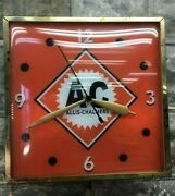 Allis Chalmers Lighted Clock Bubble Glass Farm Tractor Advertising Sign C