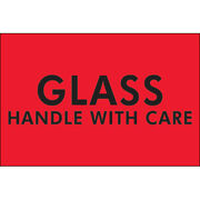 2 X 3 Glass - Handle With Care Labels Red 5000 Pcs