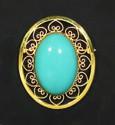 Large Vintage 12k Gold Filled Rare 22.5ct Persian Turquoise Hearts Brooch Pin