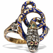 Vintage Ring From Portugal Diamonds Ruby Emeralds Gold Silver Snake Ring