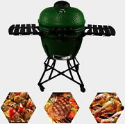 24in Round Ceramic Charcoal Grill Bbq Barbecue Camping Garden Party Supply