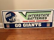 Rare Vintage 1970 S Large Interstate Batteries New York Giants Embossed Tin Sign